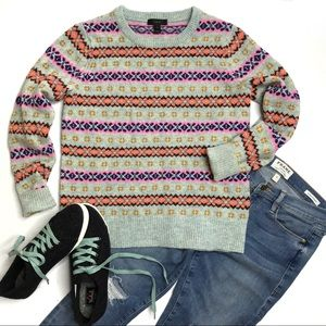 J. Crew Lambswool Fair Isle Crewneck Sweater